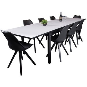 Kairo spisebord med 8 sorte Dima stole