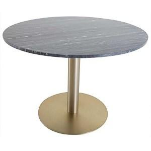 Estelle Spisebord i Grå/Sort Marmor med Messingfod