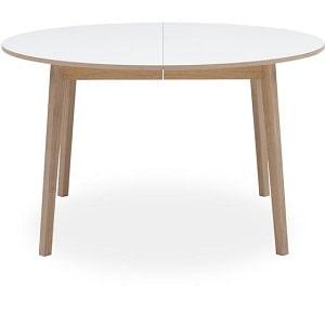 Rundt hvidt spisebord med 2 tillægsplader