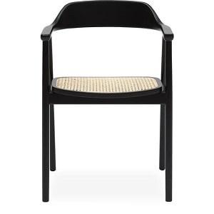 Newton spisebordsstol med armlæn i sortmalet bøgetræ